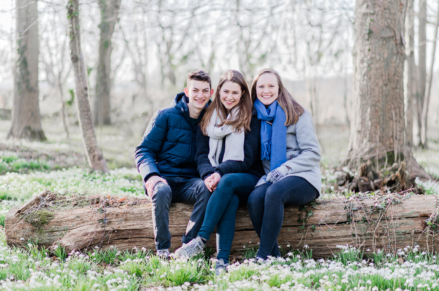 Family Photo Shoot in the snowdrops by Belinda Grant Photography